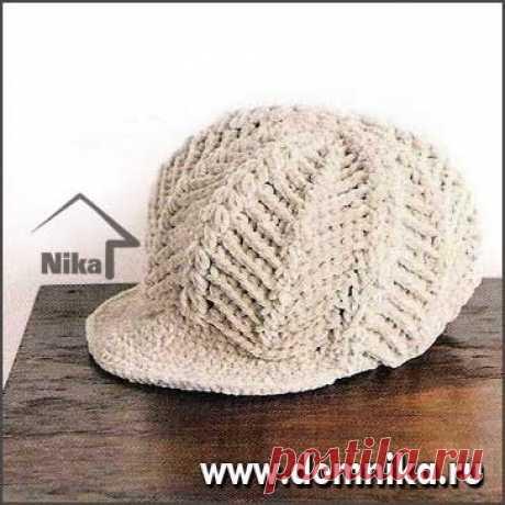 一款带帽檐儿的钩针帽子花样图解-编织乐论坛
