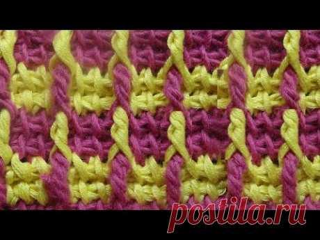 Узор вязания с рельефными столбиками   Crochet pattern   52