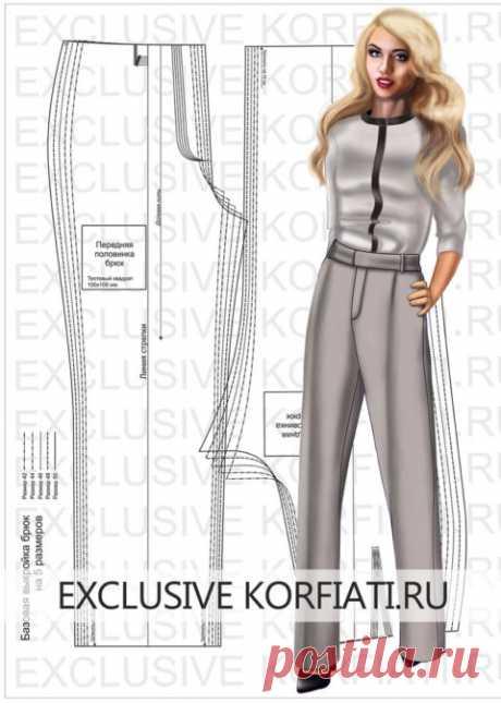 Базовая выкройка брюк для скачивания от Анастасии Корфиати