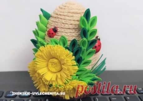Пасхальное яйцо своими руками из пенопластовой основы с декором из фоамирана