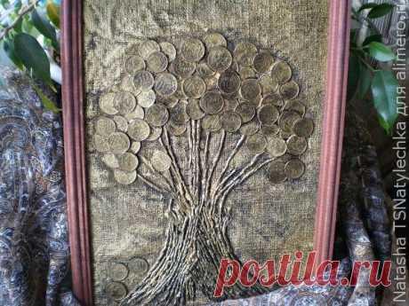 Денежное дерево — картина из монет — DIYIdeas