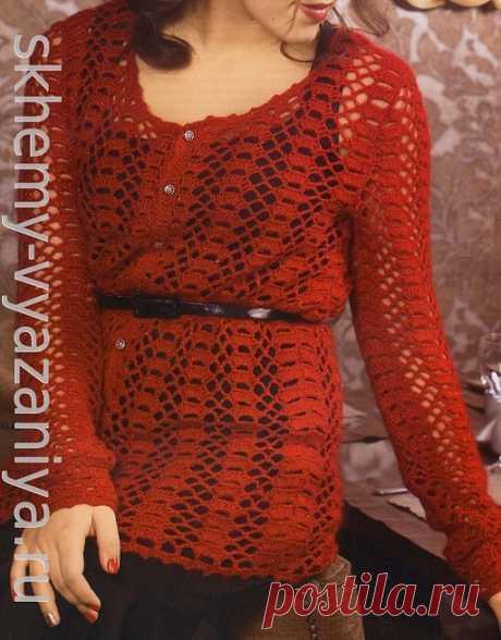 Красная кофта из ажурной сетки. Схема и описание вязания крючком.