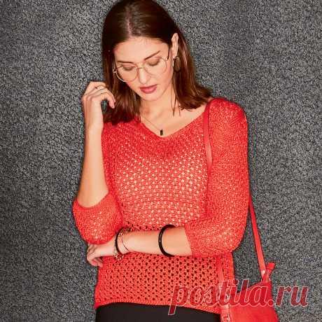 Красный пуловер с сетчатым узором - схема вязания спицами. Вяжем Пуловеры на Verena.ru