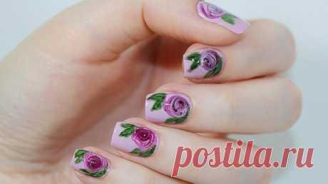 Маникюр с розами на ногтях