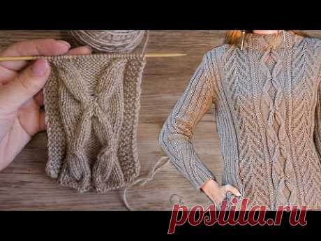 Коса - бабочка спицами 🦋 Cable - butterfly knitting pattern