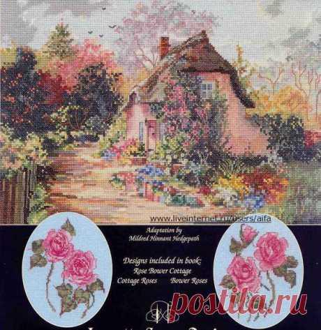 Вышивка крестом, схемы Rose Bower Cottage+две бутоньерки роз