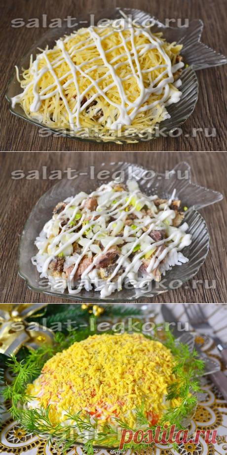 La ensalada la Mimosa con el arroz: la receta clásico, la receta poshagovyy de la foto