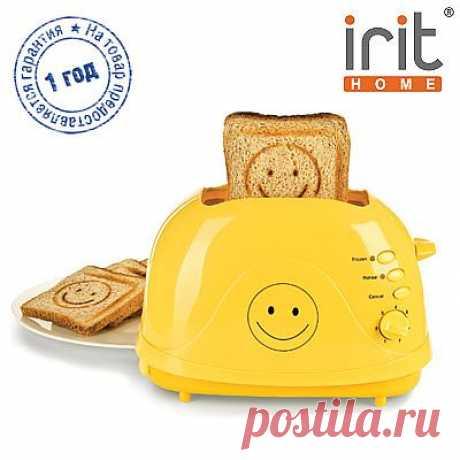 Тостер Irit, мощность 700 Вт - 1299р. - поджаривает два хрустящих аппетитных ломтика хлеба, «рисуя» на них веселую рожицу