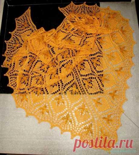 Красивая шаль спицами Красивая шаль спицами Вяжем шаль спицами. Описание вязания шали спицами. Картинки увеличиваются при нажатии.  …