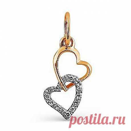 Сердцем к сердцу. Подвеска из красного золота с бриллиантом. Купить со скидкой 50% за 3 950 руб.