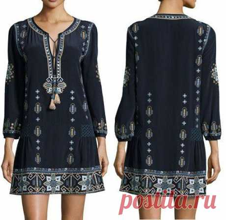 Платье-туника в стиле этно, выкройка от Marlene Mukai на размеры с 36 по 52 (евр.). #простыевыкройки #простыевещи #шитье #платье #туника #этно #выкройка