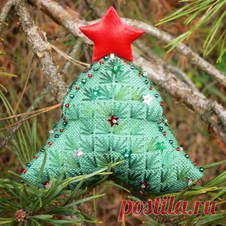 Вышивка бискорню: новогодняя ёлочка своими руками. Схема Схему для вышивки 3-D елочки предлагает Alexandrina