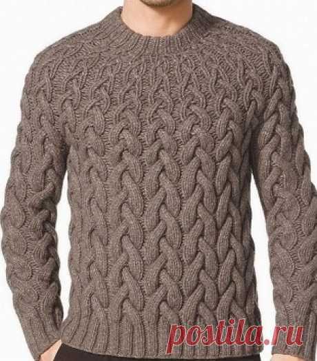 Интересный узор спицами для мужского пуловера Оригинальная идея вязания пуловера для мужчин спицами. Узор пуловера имеет необычный эффект: широкие косы внизу пуловера, по направления к горловине становятся уже и теряют свой объем.