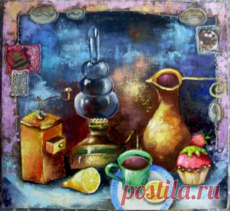 "Натюрморт "" Кофе с пирожным "" Холст, масло. Автор Yulija Ionova ( Alladie ) ( JU-Lio toys &....)"