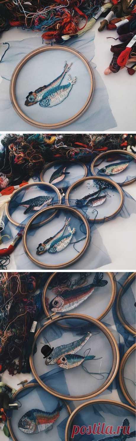 """Рыбы вышитые, вязаные и в технике """"шибори"""" - Ручные звери. Животные своими руками. — LiveJournal"""