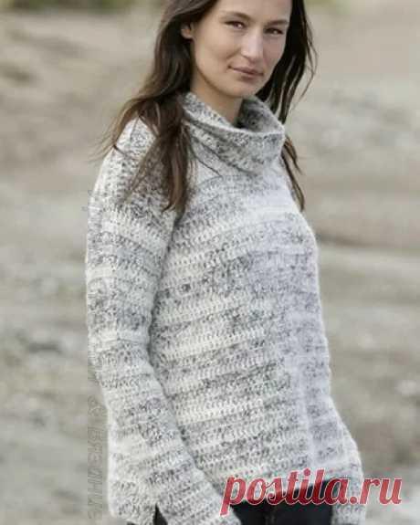 Идеи для вязания моделей крючком. Пуловер со съёмным воротником. | Ирина СНежная & Вязание | Яндекс Дзен