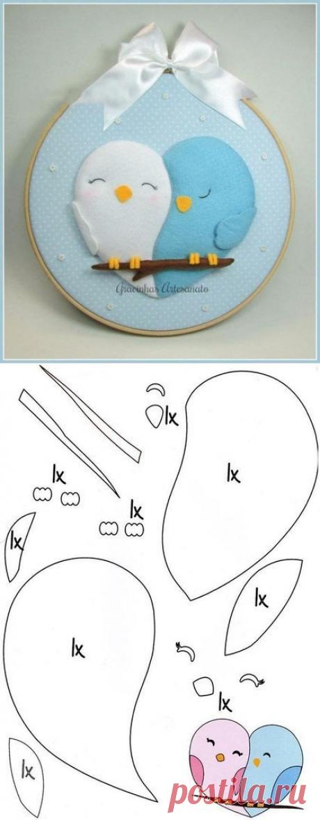 Бесконечно милые птички-неразлучники из фетра — Сделай сам, идеи для творчества - DIY Ideas