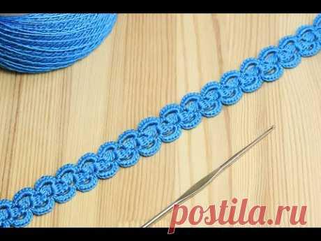 Ленточное кружево с пышными столбиками - вязание крючком How to Crochet for Beginners - YouTube