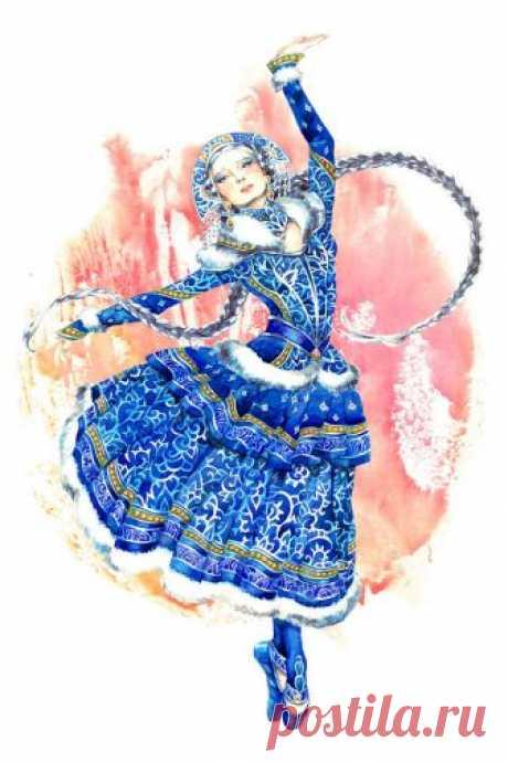 Иллюстрация - Снегурочка -. Просмотреть иллюстрацию - Снегурочка - из сообщества русскоязычных художников автора Лосенко Мила в стилях: Книжная графика, нарисованная техниками: Акварель.