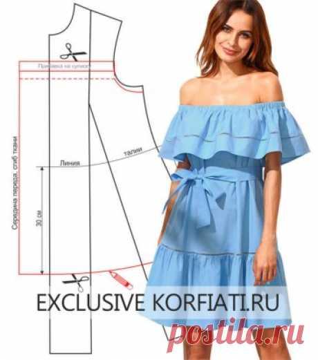 Невероятно легко! Шьем платье с открытыми плечами на резинке https://korfiati.ru/2018/05/vyikroyka-platya-s-otkryityimi-plechami-na-rezinke/ Платье, которое мы хотим предложить вашему вниманию в этом уроке — настоящий гимн лету! Модель с открытыми плечами на резинке сшита из поплина нежного небесно-голубого цвета. Две широкие оборки — одна на лифе и вторая по низу юбки придают изделию невообразимую воздушность. Обратите внимание на тончайшие дорожки, выполненные в технике ришелье — именно они