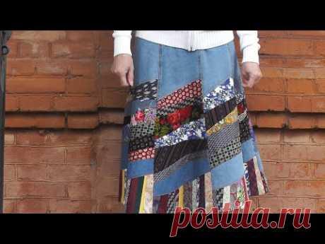 Шьем интересную юбку в стиле крейзи-квилт