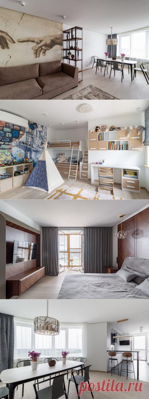Паркетная доска Boen Дуб Grey Harmony в интерьере современной квартиры
