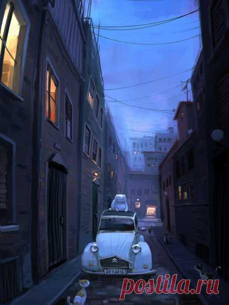 Фото Толстый белый кот сидит на крыше автомобиля, посреди улицы, за ним наблюдают другие коты