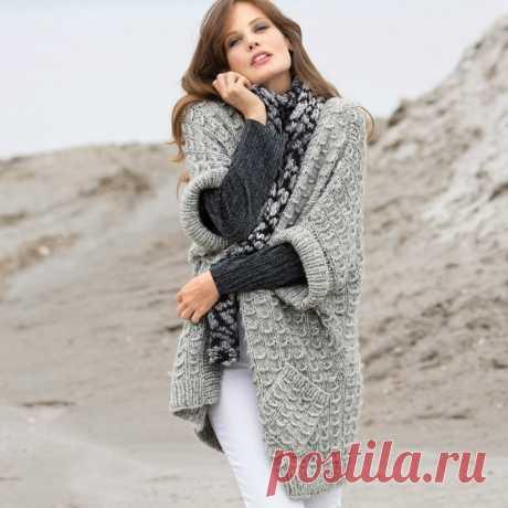 Светло-серый жилет в стиле оверсайз с карманами - Modnoe Vyazanie ru.com