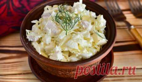 Сытный салат с курицей и капустой Быстро, вкусно и очень просто