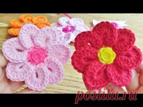 Crochet 7 Petals Flower Easy