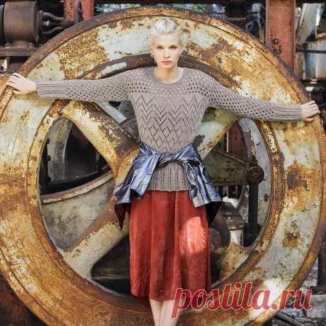 Женственный джемпер с ажурными узорами - схема вязания спицами. Вяжем Джемперы на Verena.ru