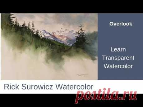 "Watercolor Tutorial, ""Overlook"" ,  Transparent Watercolor Narrated Tutorial"
