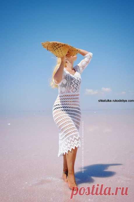 Чудесное летнее платьице крючком. Автор этого шикарного платья Ольга Маннапова. Белое платье для пляжа схемы   Шкатулка рукоделия. Сайт для рукодельниц.