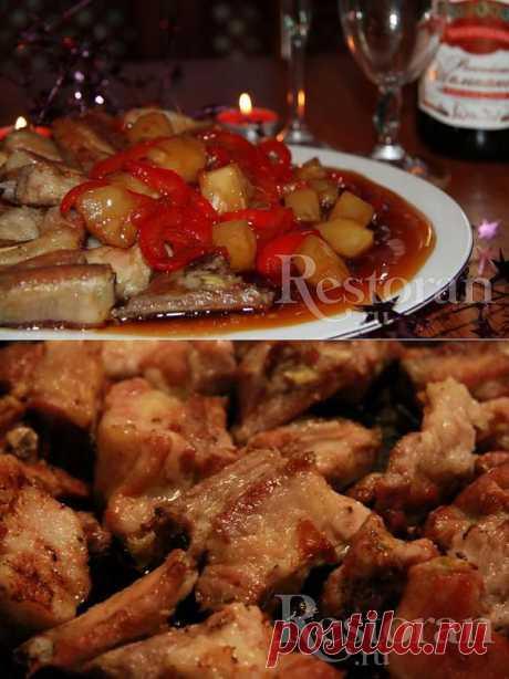 Кисло-сладкие ребра по-китайски. Вкус выходит очень интересным, за раз съедается мало, но сытно! Кто хочет похудеть и не отказываться от мяса этот рецепт для вас :)
