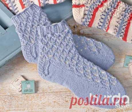 Ажурные носки - схема вязания спицами. Вяжем Носки на Verena.ru