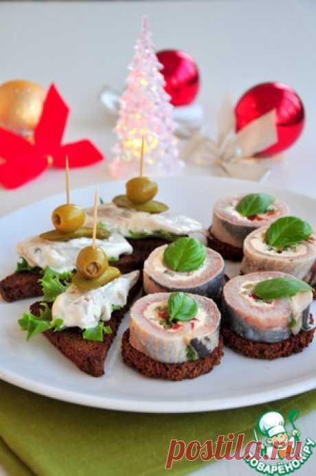 Рулеты из сельди с плавленным сыром + горчичная селедка - кулинарный рецепт