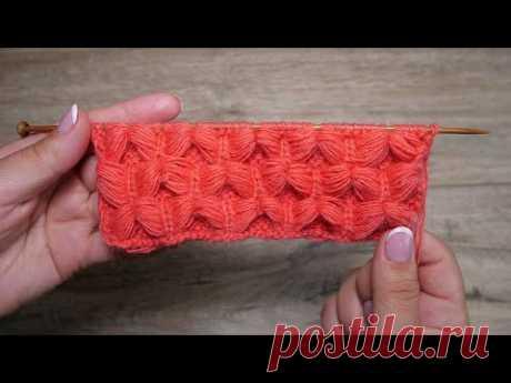 Обьемный узор «Бабочки» спицами | Volumetric « Butterfly » knitting pattern