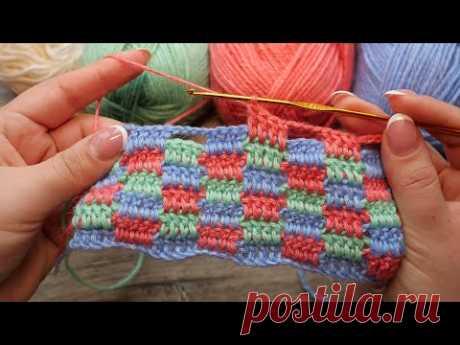 Узор в стиле пэчворк крючком 💐 Crochet Patchwork