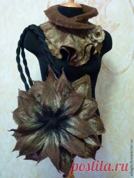 """Купить Валяная сумка """"Это Вам скажет о многом"""" - коричневый, цветочный, валяная сумка, цветок"""