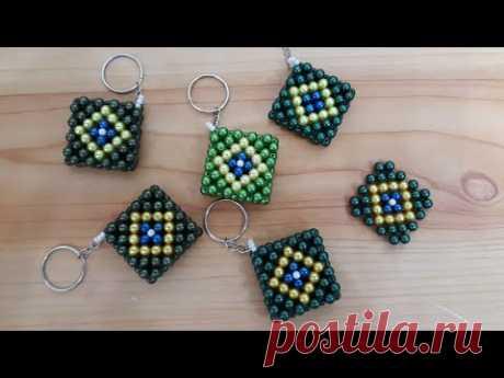 Chaveiro de pérolas - Bandeira do Brasil