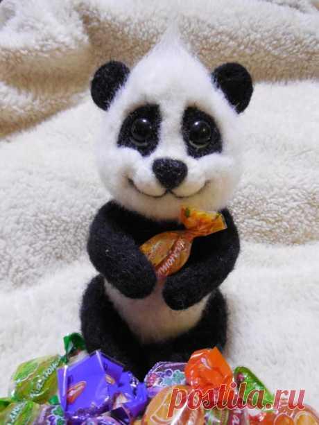 Малыш панды :) Натуральная шерсть Wollene Spielzeug Teddybär panda