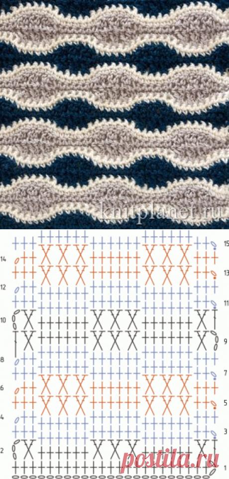Планета Вязания | Многоцветный узор крючком № 3. Схема вязания узора крючком.