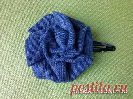 Шитье -  Аксессуары - Роза из джинсовой ткани. МК в фотографиях