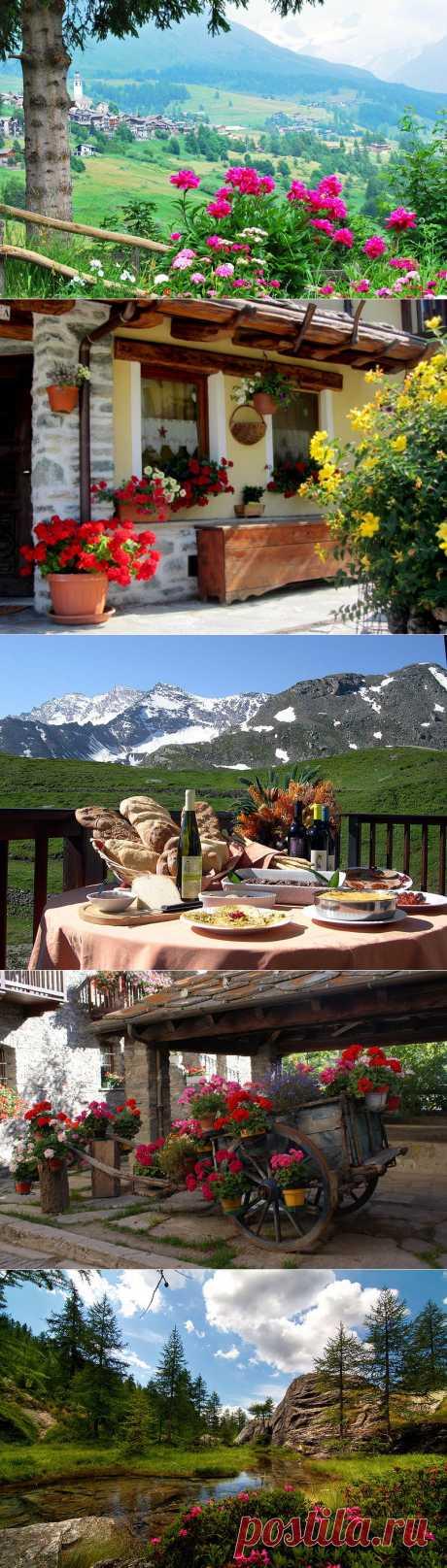 Picturesque valley of Vallée-d'aosta. Italy.