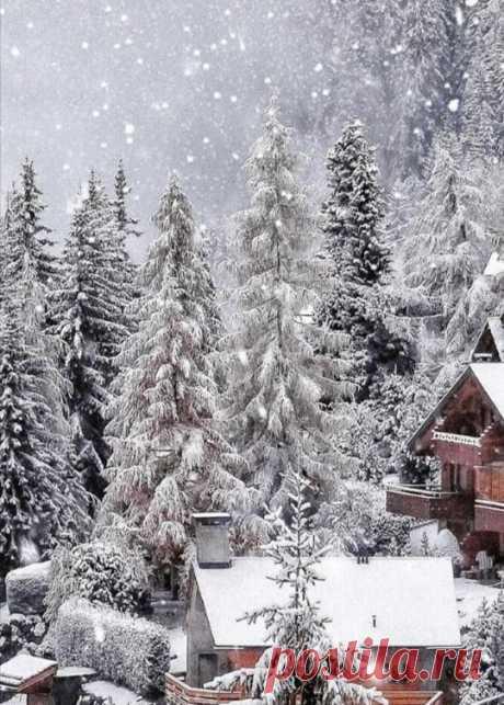 Зима... Огромными хлопьями на землю ложится снег.  Он повсюду.