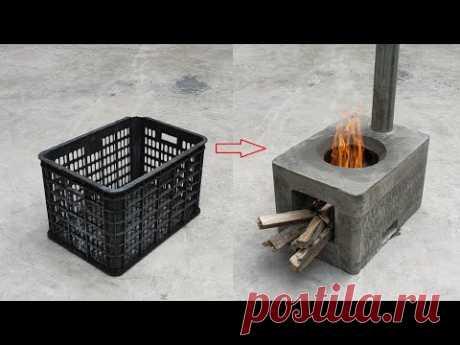 Замечательная идея сделать бездымные дровяные печи из цементных и пластиковых корзин.
