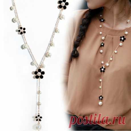 Длинное ожерелье на цепи с цветами и жемчугом (в наличии с черными цветами) - Бусы, колье, кулоны / СЮРПРАЙЗ