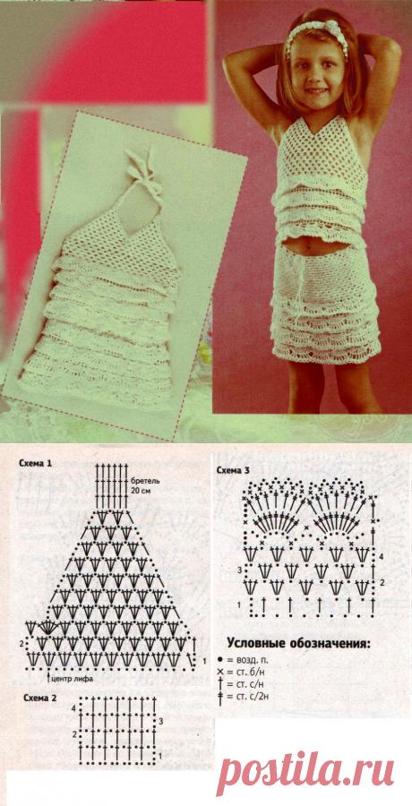 Белый комплект с оборками. | Вязание для детей