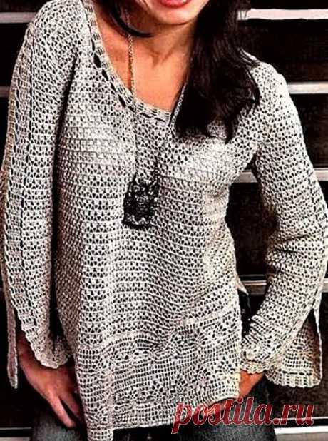 3 красивых пуловера для лета, связанных крючком (с описанием) | Идеи рукоделия | Яндекс Дзен