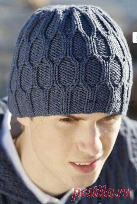 Мужская шапка спицами. Связать мужскую шапку спицами | Шкатулка рукоделия. Сайт для рукодельниц.